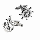 Cufflinks - Anchor with Rope & Wheel